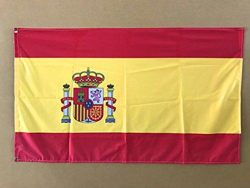 Bandera de España 85x1,50cm | Reforzada y con Pespuntes | Bandera de España Con 2 ojales Metálicos y Resistente al Agua