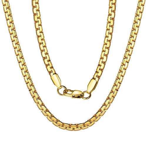 ChainsPro Kette Ohne Anhänger Gold mit Karabinerverschluss, Edelstahl verblasst Niemals Material, ROLO Kette Seilkette, schöne Geschenke zum Geburtstag