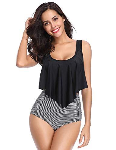 HONYAR Swimsuit for Women, Schwarz-streifen, XL - Womens Bademode-abdeckung