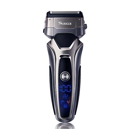 Surker Afeitadora Eléctrica Profesional Máquina de Afeitar para Hombre Recortador de Barba Seco y Húmedo con Pop-up Trimmer USB Recargable Pantalla LED Gris
