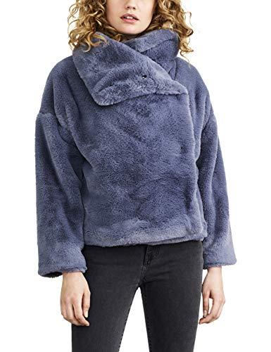 NEVEREVEN Damen Funnel Neck Faux Fur Cropped Jacket Kunstfellmantel, Lone Wolf, Mittel Sleeve Belted Coat
