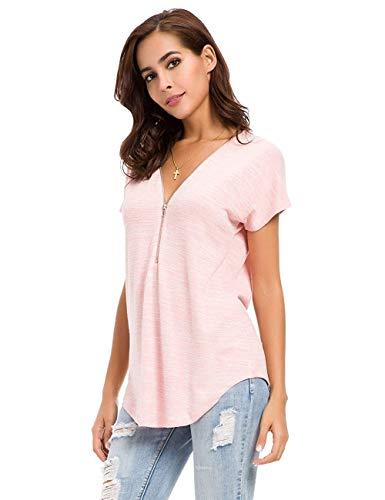 Avacoo Damen T Shirt V Ausschnitt Kurzarm Tops Tunika Casual T Shirts Bluse mit Reißverschluss Rosa S - Rosa Bluse Shirt
