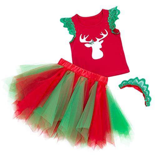 Baby Weihnachten Outfits-Set 3 Stück Weste und Tutu Rock mit Stirnband Ärmellos Kleid Kostüm Kleidung 1-3 Jahre