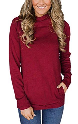 ECOWISH Damen Kontrastfarbe Pulli Pullover Rollkragen Sweatshirt Kapuzenpulli Top Hoodies 600059Rot L