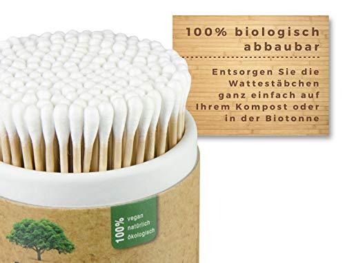 200 Wattestäbchen aus Holz von Feel Good State | im praktischen Spender | 100% biologisch abbaubar, nachhaltig und plastikfrei - 3