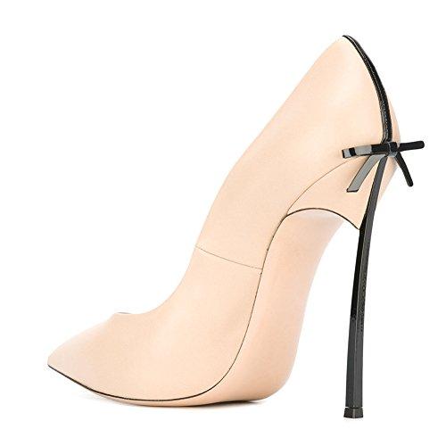 Damen Pumps Spitze Zehen High-Heels Stiletto mit Schleife Rutsch Hochzeit Nude Schwarz