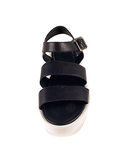 FRAU donna sandali zeppa 92N3 NERO-BIANCO