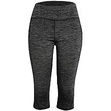 zycShang Femmes Couleur Unie Poche Pantalon de Sport Leggings Skinny Taille Haute Élasticité Slim Fit 3/4 Pantalon Sweatpants Sportwear pour Fitness Jogging Running Yoga Entraînement