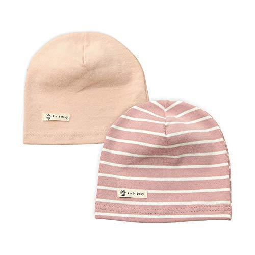 LACOFIA Baby Mädchen Beanie Mütze Kinder Weiche Baumwolle Strickmützen Kleinkind Gestreift Hut 2 Stücke Rosa S/0-6 Monate