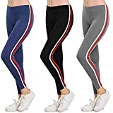 AJ Fashion Gym wear Leggings Ankle Length Free Size Combo Workout Trousers | Stretchable Striped Jeggings for Girls & Women P