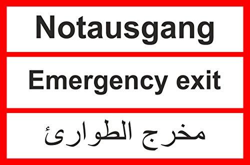 Asylbewerberschilder Asyl Schild Schilder Asylschild Übersetzung deutsch arabisch syrisch -6104t- Notausgang, mit 4 Tesa-Powerstrips