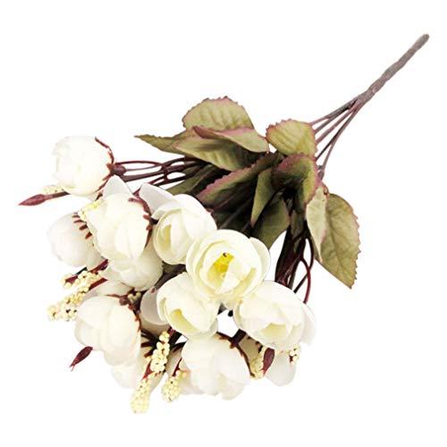 gzzebo 18 künstliche Rosen Seide Blumen Kamelie Pfingstrose Blumenstrauß Haus Garten Büro Party Hochzeit Deko Foto Requisiten Milchweiß