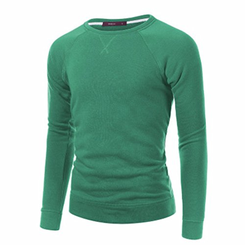 Men's High Quality O-neck Full Sleeve Pullovers Casual Sweatshirts Limegreen