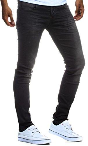 LEIF NELSON Herren Jeans Hose Slim Fit | Denim Blaue graue Lange Jeanshose für Männer | Coole Jungen weiße Stretch Freizeithose Schwarze Cargo Chino Sommer Winter Basic | LN301SC Schwarz W31/L30 (Skinny-jeans Für Jungen)