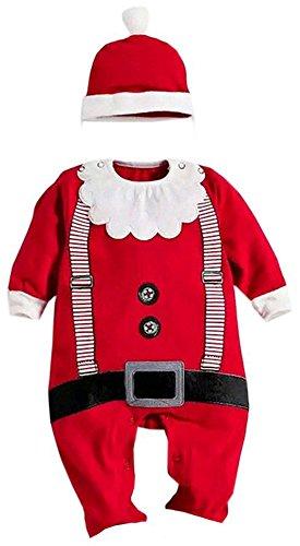 ädchen Overalls Strampler Weihnachten Kostüm Bekleidungssets mit Hat Rot 95(13-18 Monaten) (Süßeste Kleine Junge Kostüme)