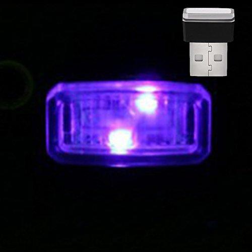 GEZICHTA KFZ USB Atmosphäre Licht, Mini USB LED Wireless Auto Innenbeleuchtung Atmosphäre Licht, Hohe Helligkeit Auto Fuß Lampe Dekoration Lichter, für Auto Notebook Etc, Purple Light