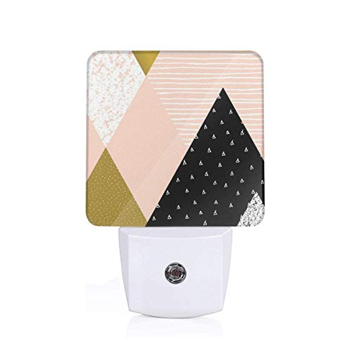 Abstract Vintage Triangle Pattern With Lines Dots Retro Stripes Plug-in LED Night Light Lamp with Dusk to Dawn Sensor, Night Home Decor Bed Lamp - Stripe Triangle Bikini