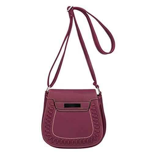 SANFASHION Vintage Vintage Frauen reine Farbe Leder Crossbody Taschen Messenger Schultertasche Handytasche
