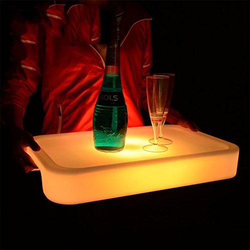 OOFAY& EIS Eimer/Wasserdicht LED Aufhellen Platz Serviertablett Mehrere Farben Wiederaufladbar Obst Getränke-Tabletts Halter Licht + Fernbedienung 50,5 * 30 * H7.5Cm / KD-IB517