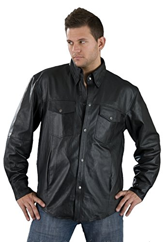 Snap Shirt (Leather King Men's Lambskin Leather Shirt with Snap Down Collar (Black, X-Large) by LEATHER KING)