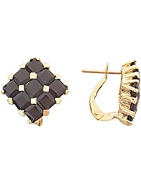 Superstar Boucles d'Oreilles Femme en Or 18 carats Jaune avec Grenat, 8 Grammes