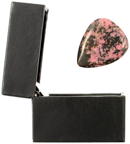 Jasper Tones Rhodonit Plektrum in einer Geschenk-Box