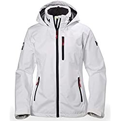 Helly Hansen W Crew Hooded Midlayer Chaqueta Impermeable, Cortavientos y Transpirable para Mujer, con Forro Polar Integrado, Blanco, S