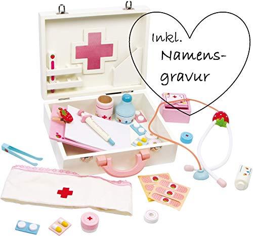 ♥ Personalisierter Arztkoffer aus Holz mit Tragegriff ♥   mit Namensgravur   ♥ wertvolles Einzel- und Erinnerungsstück ♥   Hochwertiges Spielset   ♥ Geschenkidee für Kinder ab 3 Jahren ♥