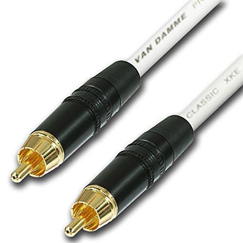 Designacable Cinch-Kabel, vergoldet Van-Damme Qualität, unsymmetrisches Instrumentenkabel (10m), weiß