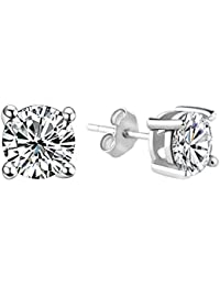 (Abfertigung) Classic Sterling Silver Earring Studs with Brilliant AAA class Cubic Zircon CZ Stone 6MM