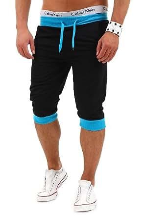 MT Styles Sweat-Short contrasté pantalon de jogging P-10 [noir, S]