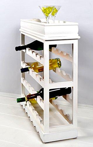 Weinregal Weiß für 24 Flaschen Flaschenregal weißes Holz - 7