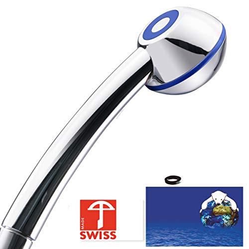 Handbrause SwissClima BLUE WOW! geeignet für Durchlauferhitzer und Duschende, die unter tiefem Wasserdruck leiden: kräftiger Strahl, druckerhöhend, aufmachbar, hygienisch, kalkfrei, 1 Flussmenge