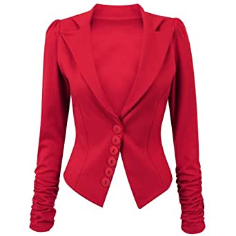 Ladies Ruched Long Sleeve Button Blazer In Red Size 14