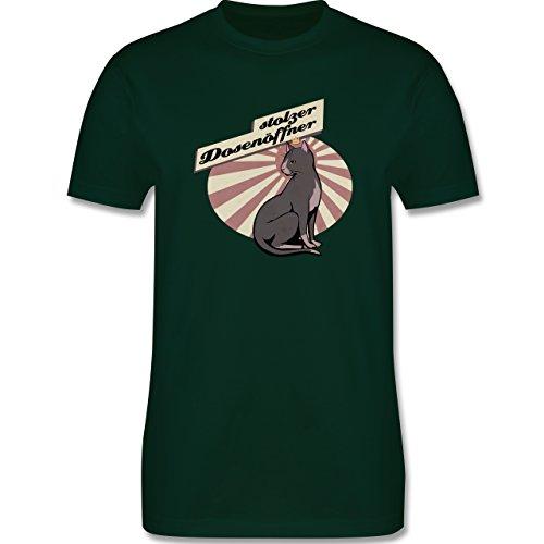 Katzen - Stolzer Dosenöffner Katze - Herren Premium T-Shirt Dunkelgrün