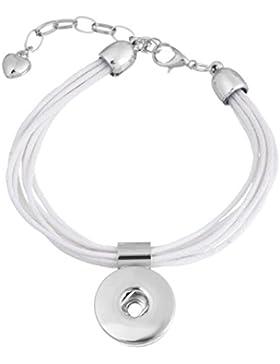 Souarts Damen Click Button Armband Druckknopf Armkette 19cm Weiß