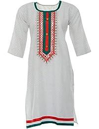 PRIYA Women's Cotton Kurta (PRIYA004--Large, Off-White, Large)