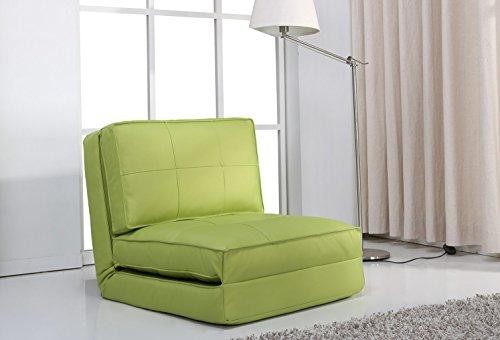 ARTDECO Schlafsessel Jugendsessel Gästebett Kindersessel Klappsessel Kunstleder grün groß