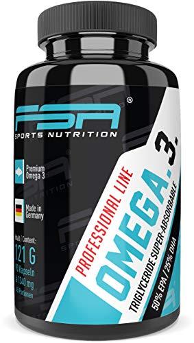 Omega 3 Triglyceride Fischöl hochdosiert 90 Kapseln, 500 mg EPA und 250 mg DHA pro Kapsel - von der Profisport-Marke FSA Nutrition, Hergestellt in Deutschland -