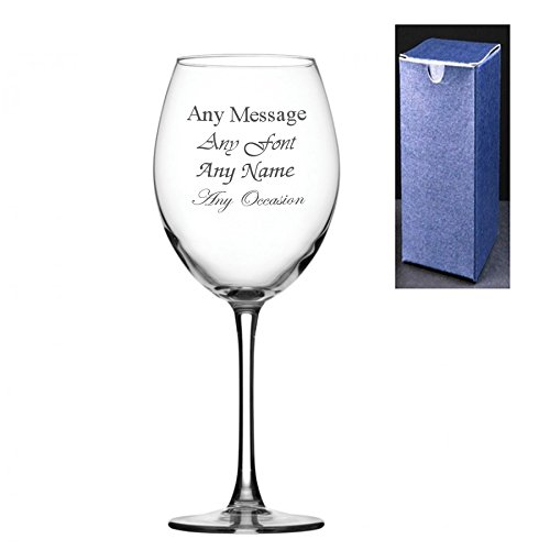 Personalised Engraved Enoteca 19oz Large Wine Glass With Gift Box - Any Message Engraved!!