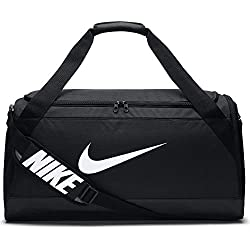 Nike NK Brsla M Duff Sac de Sport de Training (Taille Moyenne) Mixte Adulte, Noir/Noir/Blanc, 61 L