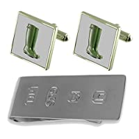 Garden Wellington Boots Cufflinks & James Bond Money Clip