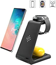 Wireless Charging Station, 3 in 1 Premium Qi-Certified Charging Stand Fast Charger Compatible with Samsung Gal