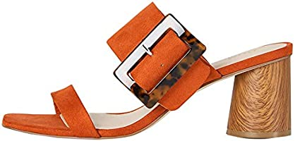 Marchio Amazon - find. Large Buckle Block Heel Sandal, Sandali punta aperta Donna
