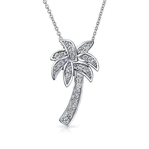Bling Jewelry Nautische Ebnen Zirkonia Cz Tropical Beach Palm Tree Halskette Für Frauen Für Jugendlich 925 Sterling Silber