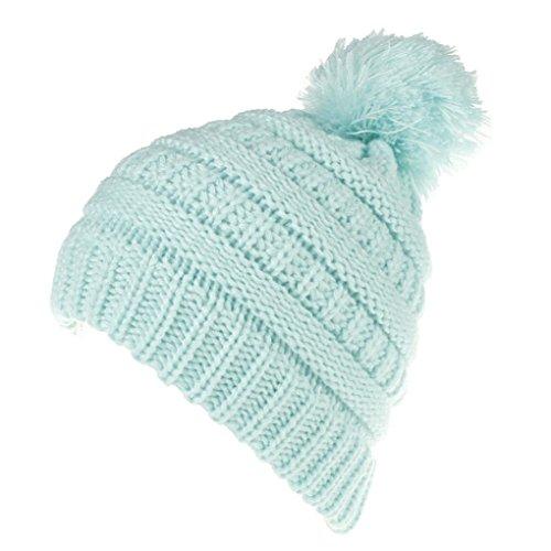 3 Stück Wintermütze (Babybekleidung Hüte & Mützen Longra Baby Kinder Jungen Mädchen Mode behalten 2017 Warme Winter-Hüte Strickwolle Hut(2-6Jahre) (Sky Blue))