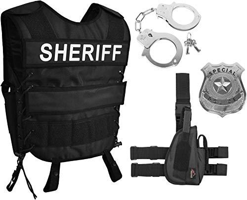 normani Police Sheriff Kostüm bestehend aus taktischer Weste mit Police Klettpatch Special Police Abzeichen, Handschellen (rechts oder Links) Größe - Swat Offizier Damen Kostüm