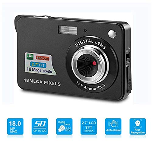 Youmeet Digital Cameras - 2.7 inch 18 MP Compact Digital Camera for Holiday Family,Friends,Kids,School,Students (BLACK)