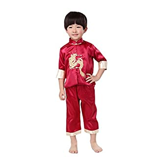 ACVIP Child Boy's Embroidered Dragon Chinese Kung Fu Tai Chi Suit Set Uniforms (6-7 years, Dark Red)