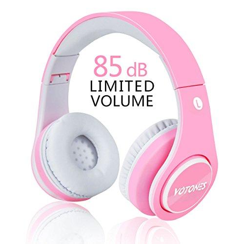 Casque Bluetooth pour Enfants, 85 DB Volume Limité sans Fil / Filaire Stéréo Pliable sur l'Oreille pour Les Filles, Écouteur Léger pour Enfants avec Microphone Intégré pour Mains Libres - Rose Clair